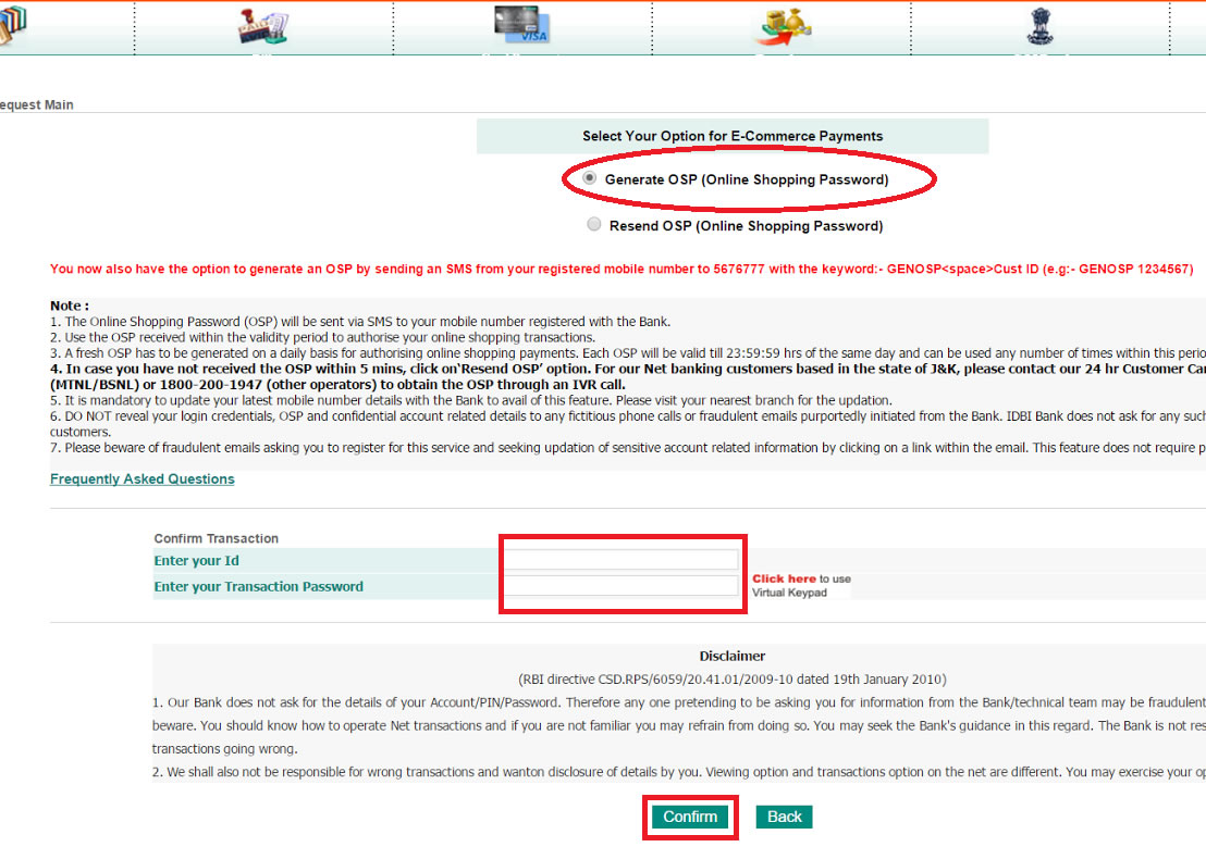 How To Generate OSP In IDBI Bank | Book Rail Ticket India