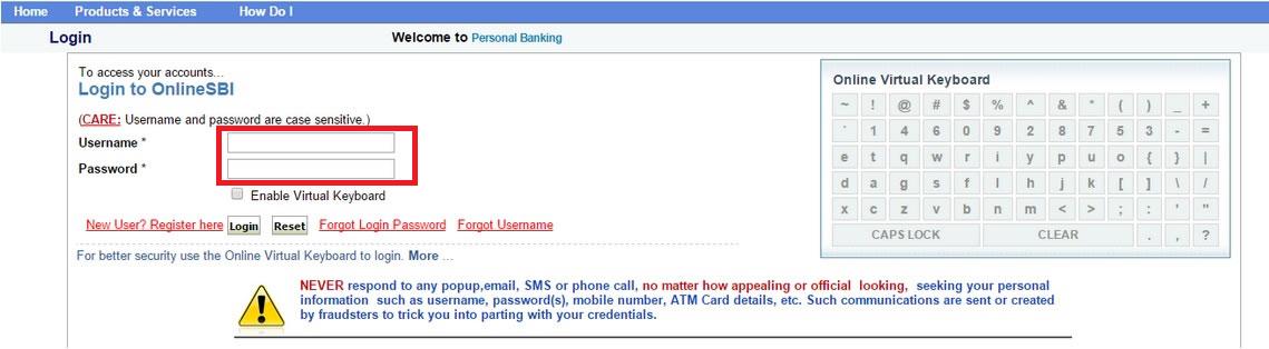 sbi net banking personal login